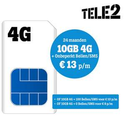 10Gb 8eur/mnd (-38%). 10GB+bellen/sms 13eur/mnd (-27%). 4G 2jaar contract.