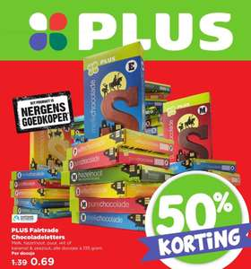 50% korting plus Fairtrade chocoladeletters @plus