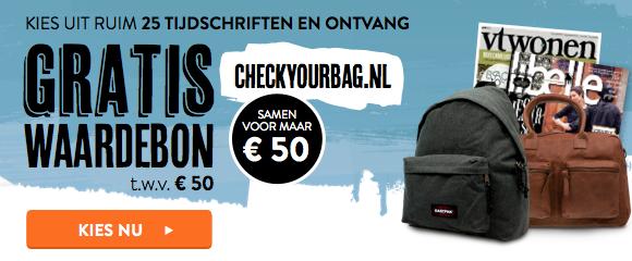 Gratis Checkyourbag waardebon van €50 bij een tijdschrift abonnement @ Magazine