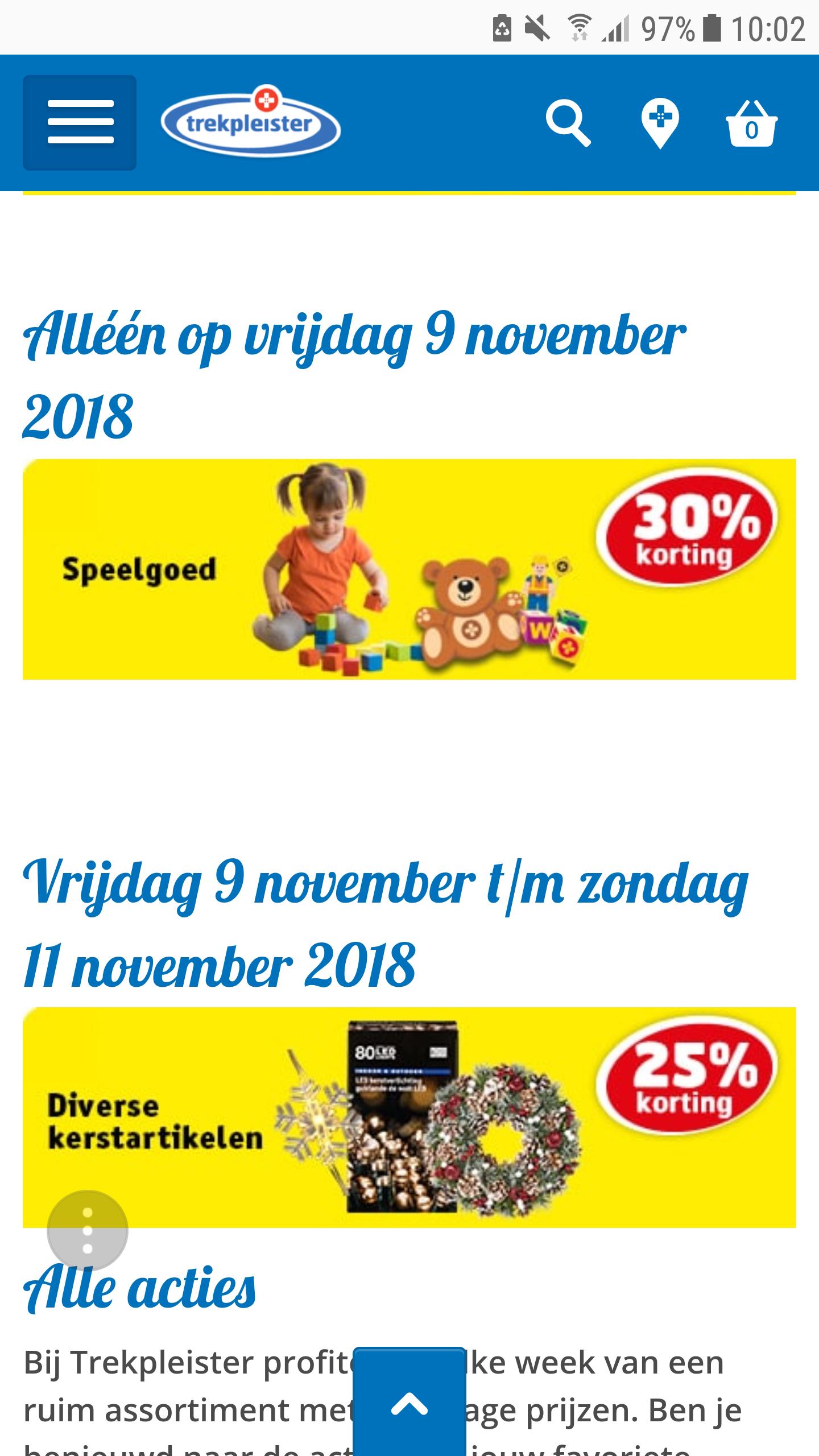 Vrijdag 9 november 30% korting op speelgoed bij trekpleister