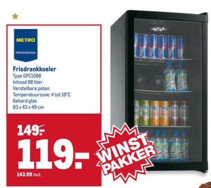 Transparant koelkast 88liter met led verlichting. -19%. (huismerk makro).