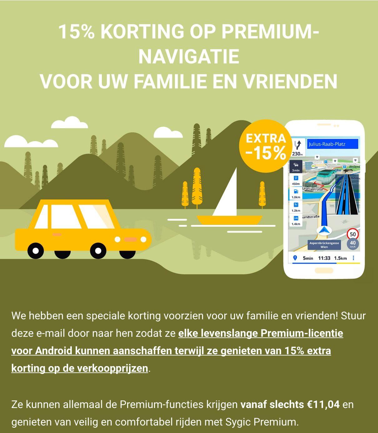 """15% korting op Premium-navigatie """"voor familie en vrienden""""  @ Sygic"""