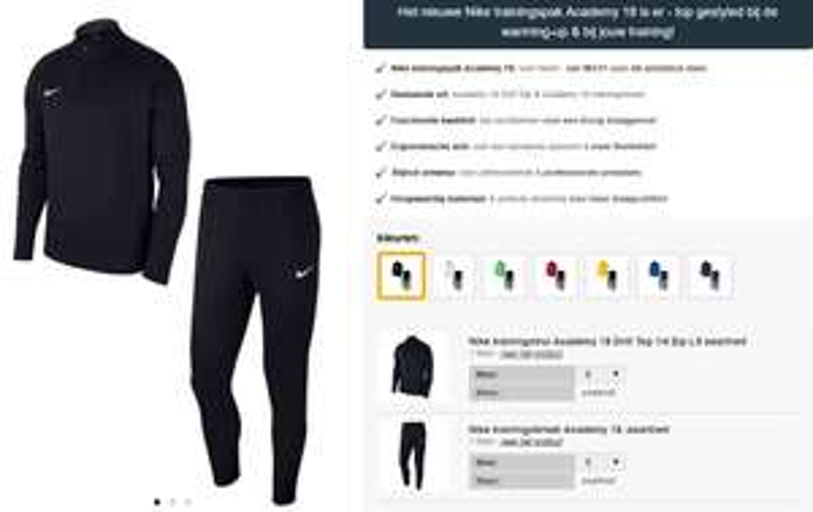 Nike Academy 18 trainingspak -50% + gratis verzending t.w.v. €9,95 @ Geomix