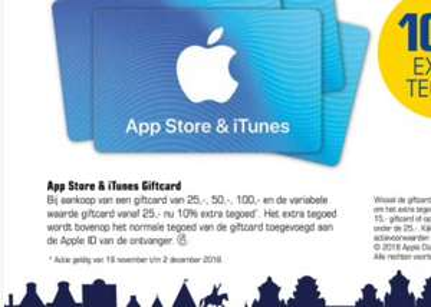 10% extra tegoed App Store & iTunes Card@Primera