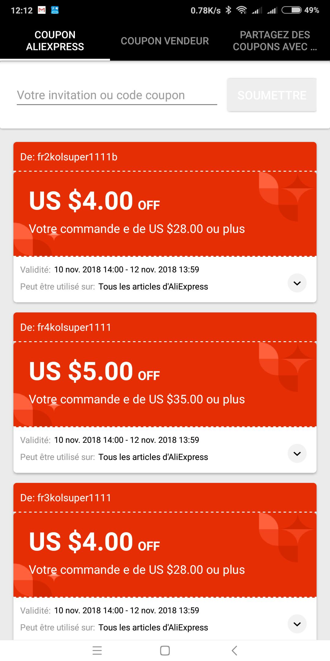 AliExpress 11/11 coupons van verschillende waarden