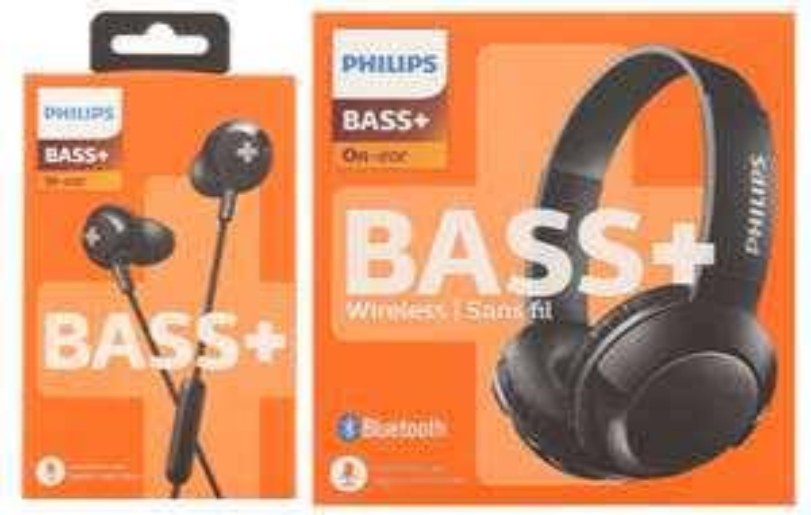 Philips BASS+ oordopjes voor €8.95 en koptelefoon voor €19.95 bij de Action
