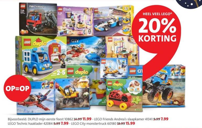 20% korting op heel veel LEGO bij Bruna