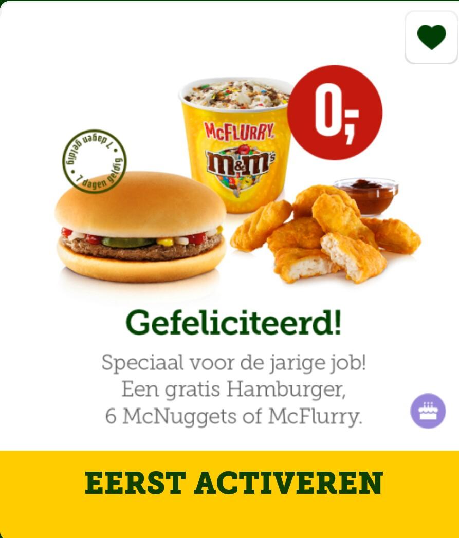 Gratis McFlurry, 6 kipnuggets of hamburger door verjaardag trucje @ McDonald's App