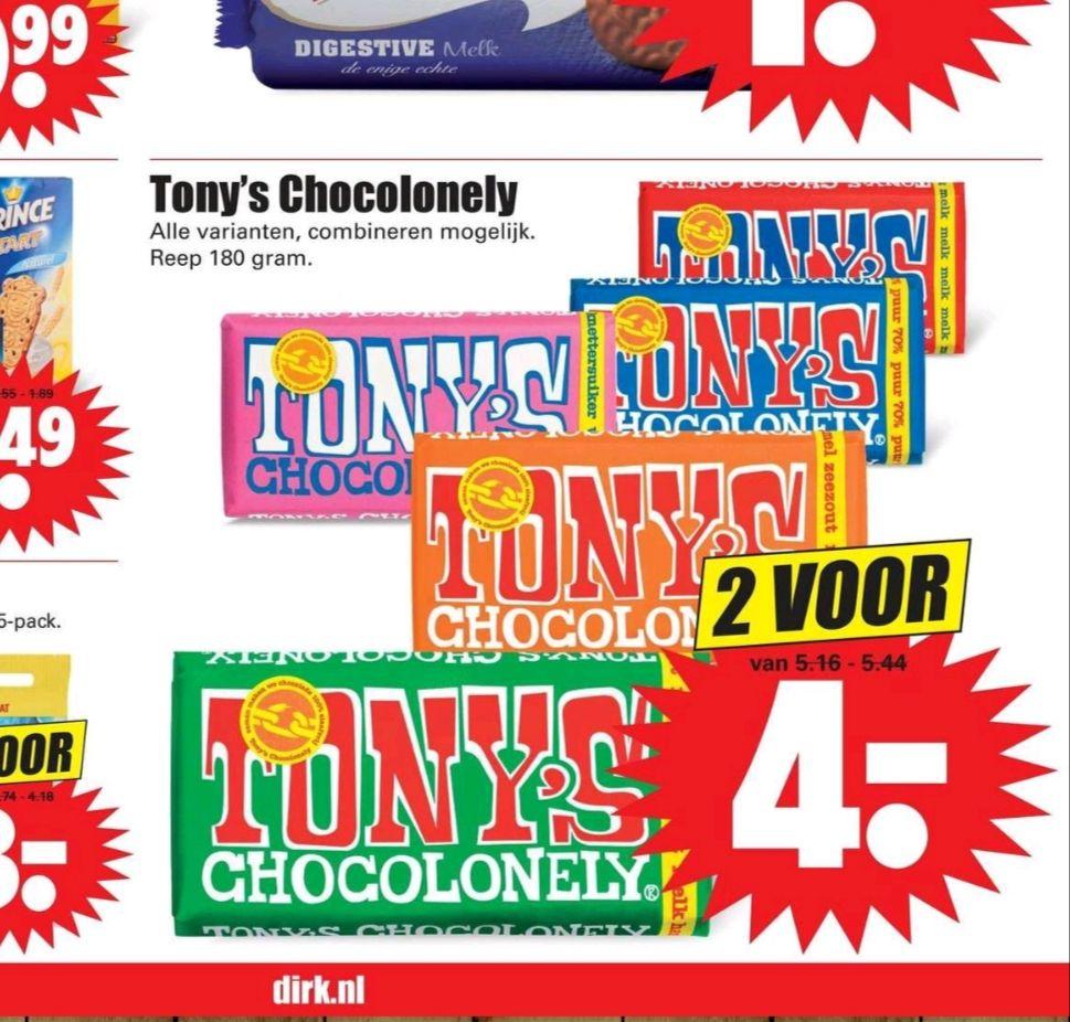 Tony Chocolonely bij Dirk en Dekamarkt- 2 voor €4,-