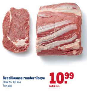 Makro: zeer mals ribeye (zuidamerikaans). 11,65 eur/kg.