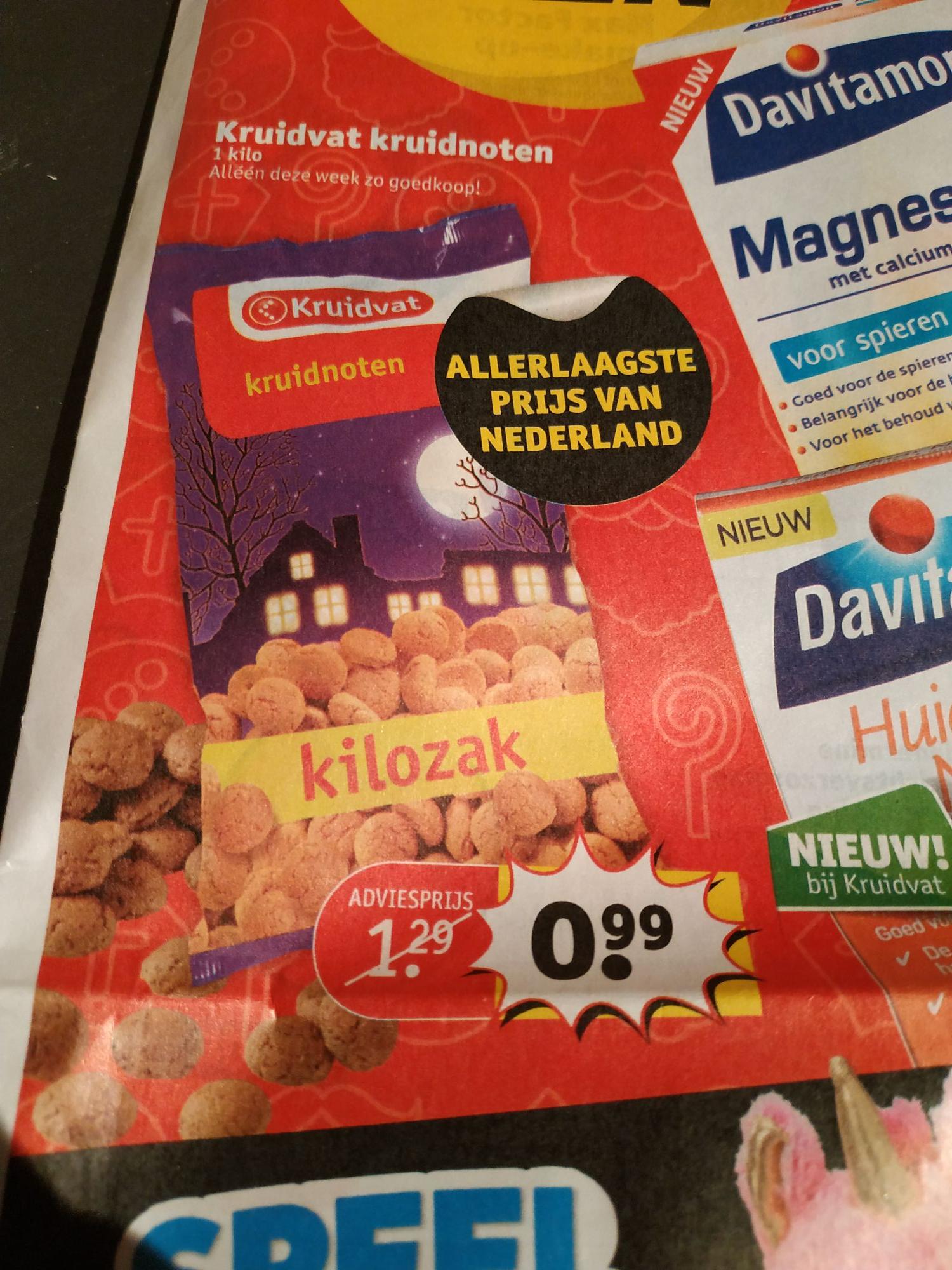 1 Kilo kruidnoten/pepernoten €0,99 kruidvat