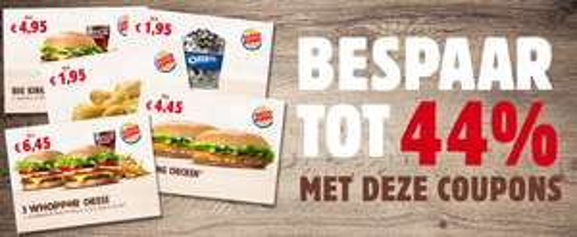 Tot 44% korting door kortingscoupons @ Burger King