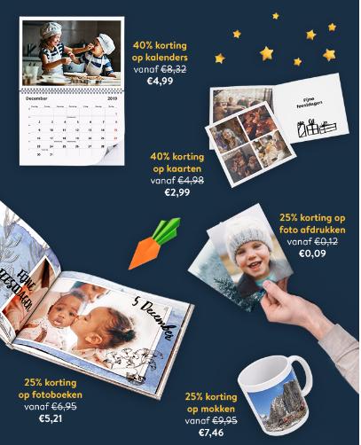 40% korting op fotokaarten en fotokalenders en 25% korting op de rest bij Albelli