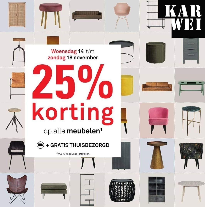 25% op alle meubelen bij Karwei