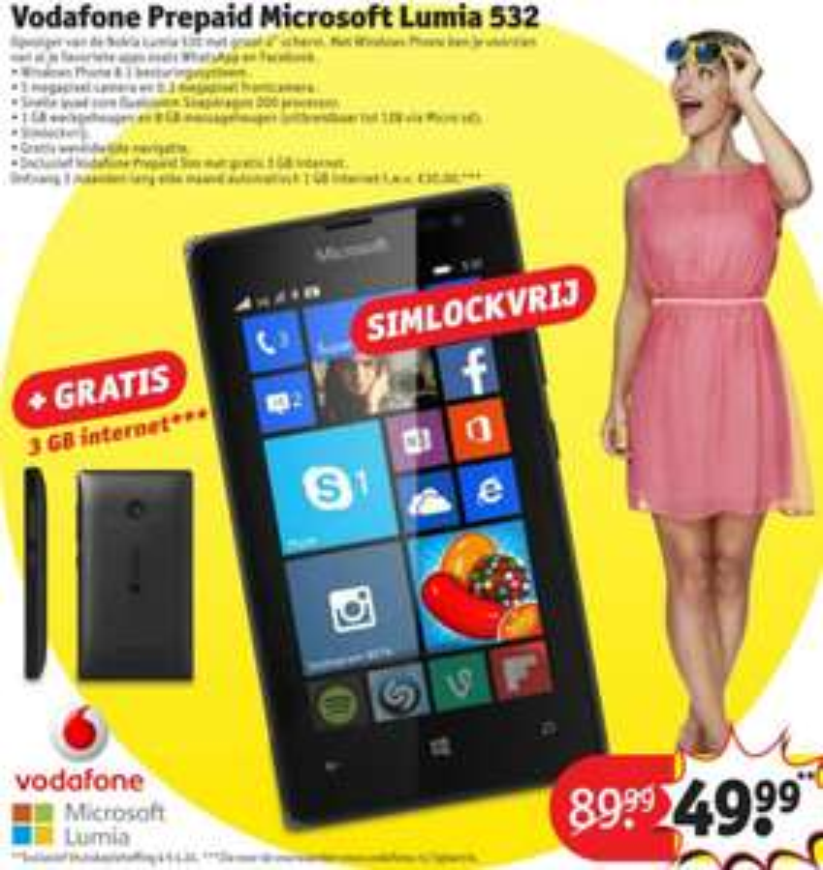 Simlockvrije Nokia Lumia 532 inclusief Vodafone prepaid met 3GB internet voor €54,23 @ Kruidvat