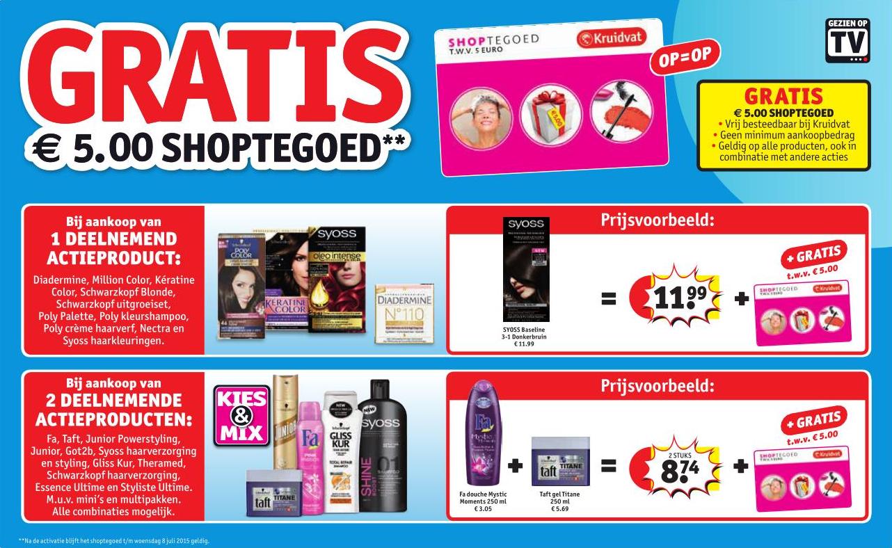 Gratis €5 shoptegoed bij aankoop van 1 of 2 actieproducten @ Kruidvat (vanaf dinsdag)