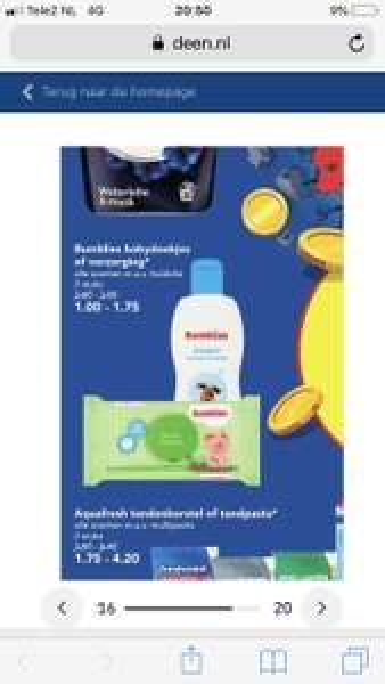 2 pakjes billendoekjes Bumblies voor 1 euro bij Deen
