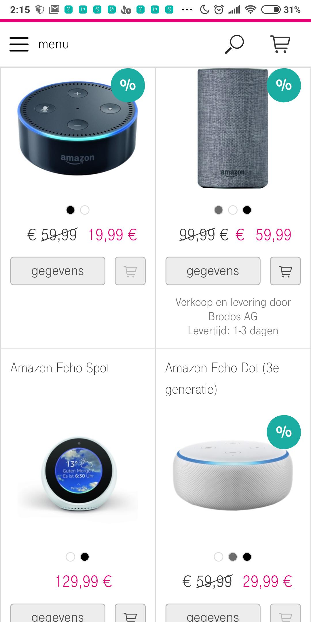 Grensdeal: Amazon Echo Dot v2 19,99 en de v3 voor 29,99