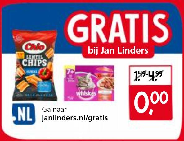 Gratis bij Jan Linders: Chio Lentil Chips & Whiskas