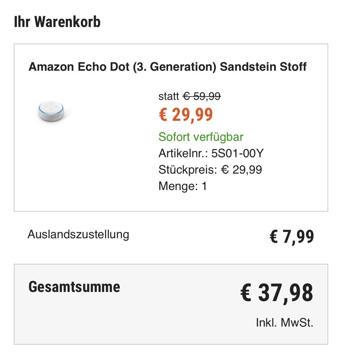 Amazon Echo Dot 3e generatie - 38 euro incl. verzending naar NL