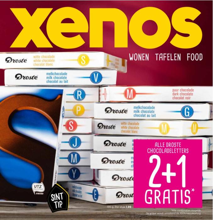 Alle Droste chocoladeletters 2+1 gratis bij Xenos