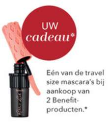 Gratis travel size mascara bij aankoop van 2 Benefit-producten of bij aankoop van 2 Too Faced-producten bij Douglas