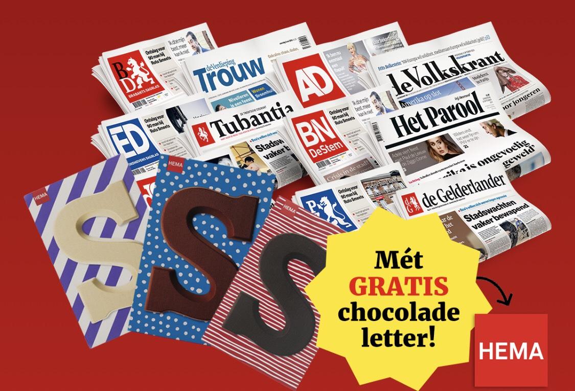 De krant + chocoladeletter 3 of 5 weken voor €3,- of €5,-