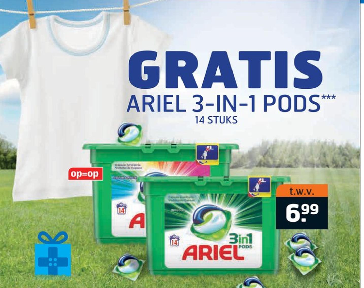 Gratis Ariël 3 in 1 pods 14 stuks twv € 6,99 @trekpleister