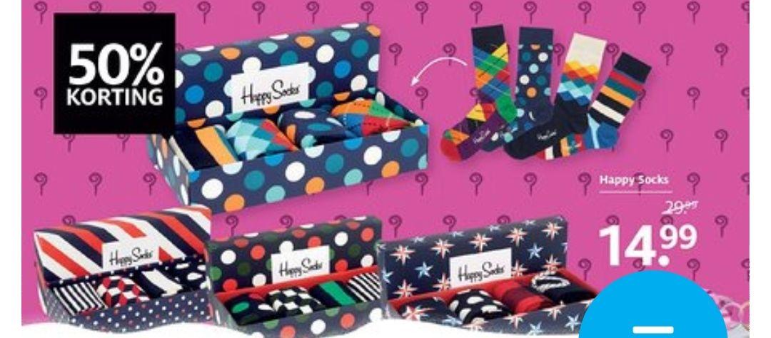 Happy socks geschenkverpakking met 4 paar sokken bij Etos