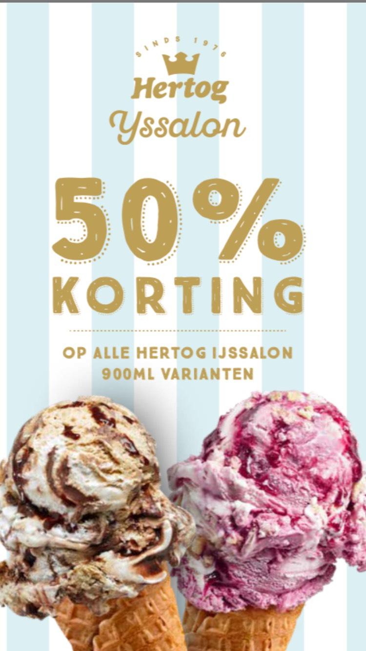 50% korting op Hertog ijssalon ijs 900ml