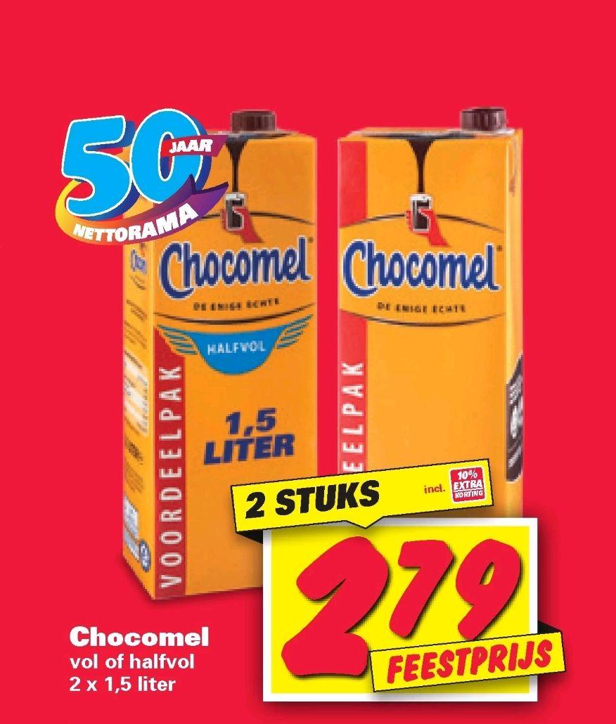 2x Chocomel voordeel pakkeb (2x 1,5L) voor maar €2,79 bij de Nettorama. Vol of Halfvol.