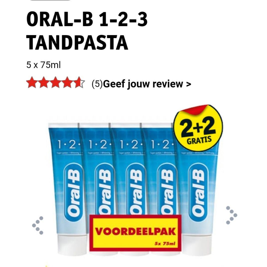 Oral-B 1-2-3 tandpasta 20 stuks voor €10 @ Kruidvat