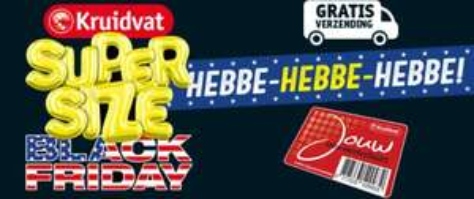 Gratis verzending op alles tijdens super size Black Friday op Kruidvat.nl (t/m 26 november)
