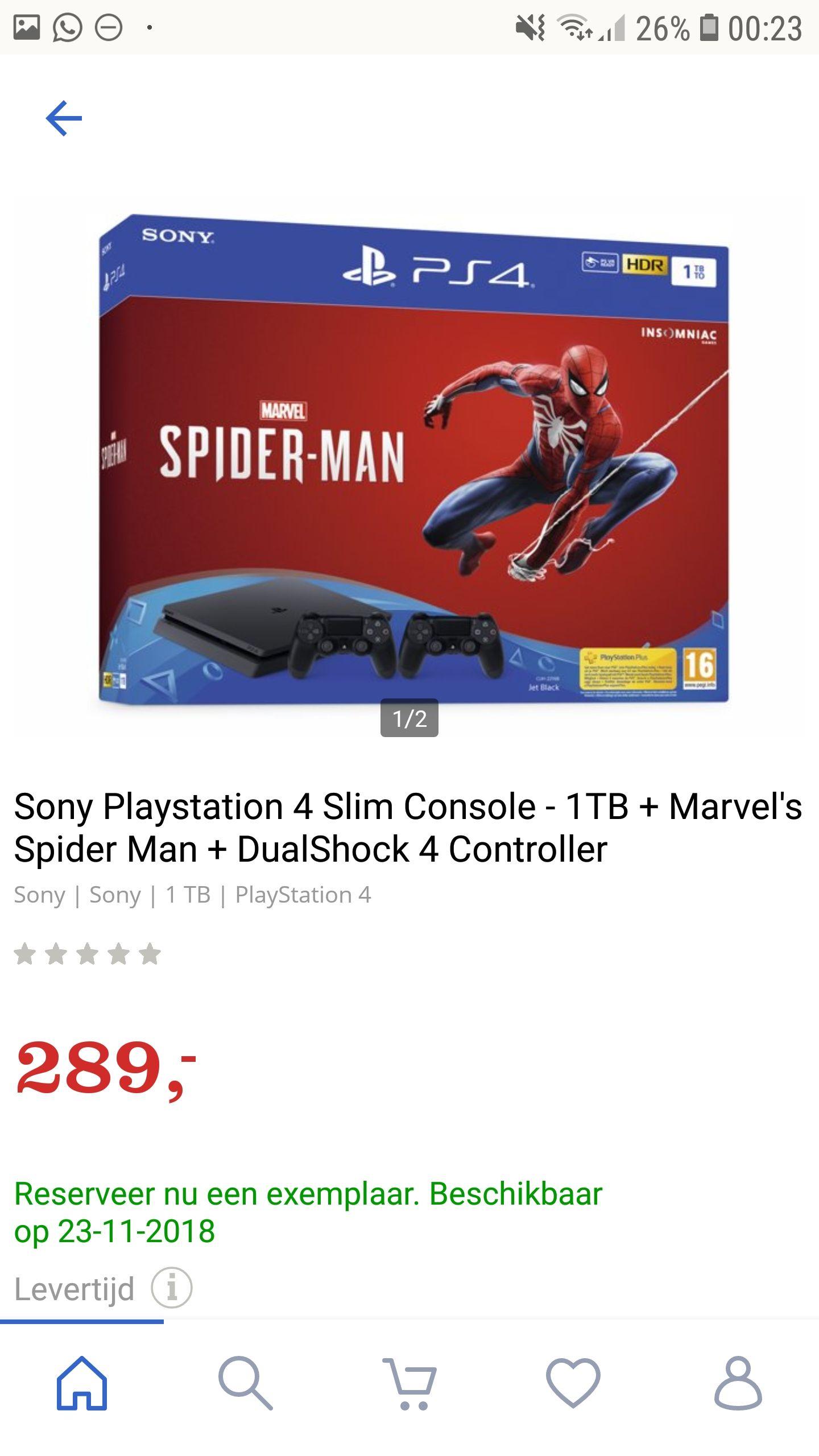 PlayStation 4 slim + Spiderman + 2 DualShock 4 controllers