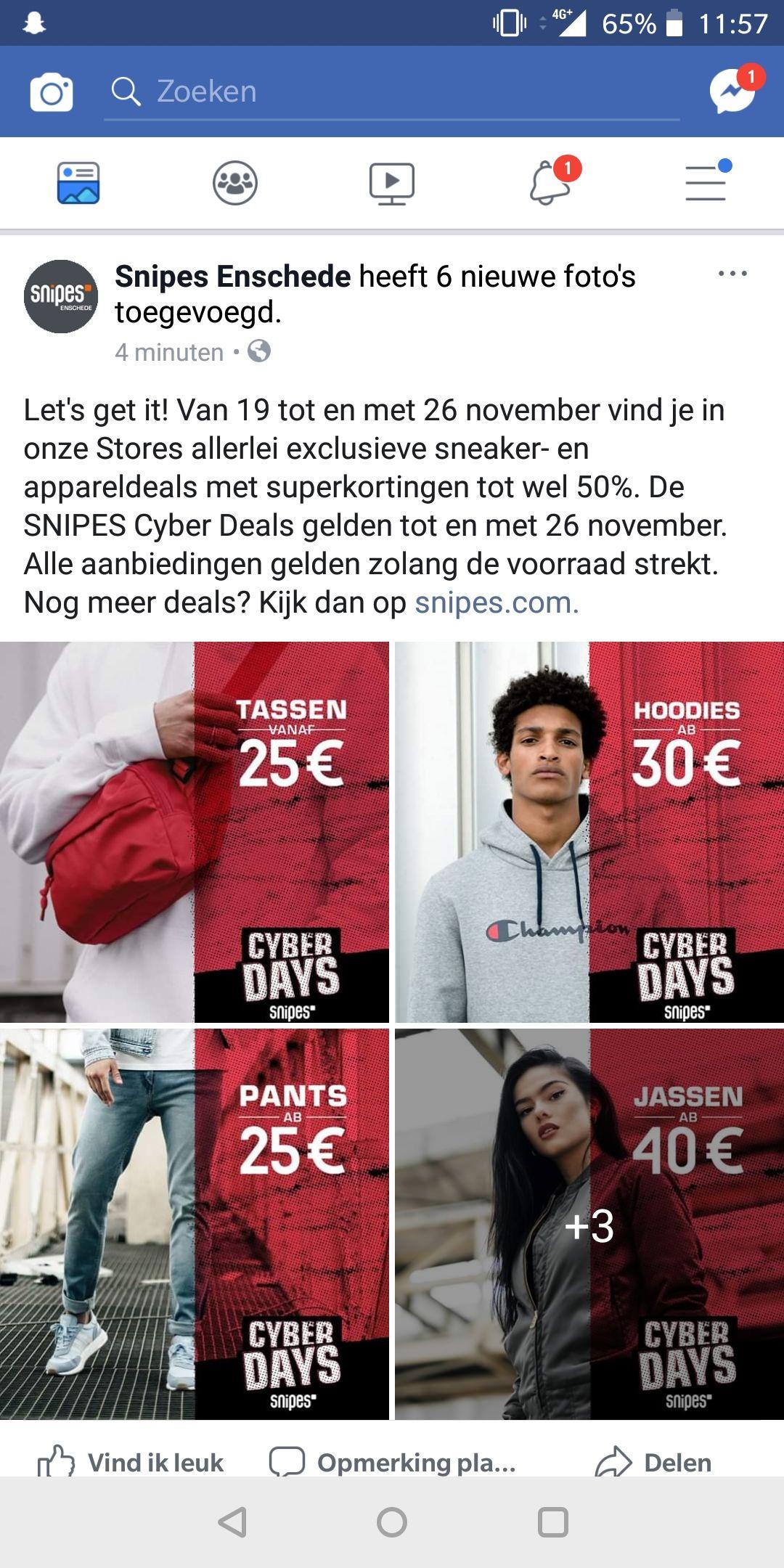 SNIPES Cyber Deals! Tot 50% korting
