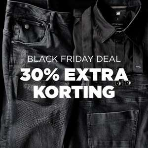 Cyber Monday deal: 30% extra (va €50) + 10% extra @ G-Star outlet