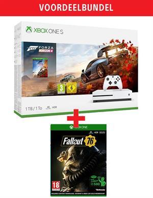 Xbox One S 1TB White + Forza Horizon 4 + Fallout 76 €209 bij Game Mania vanaf 20-11-2018.