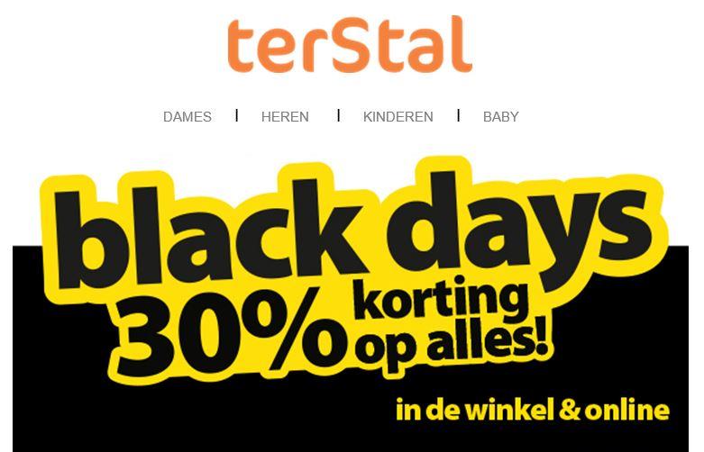 Black Friday: alles 30% korting @ terStal