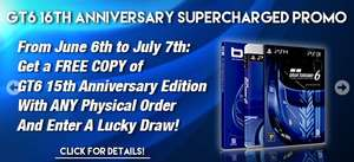 Gratis Game Gran Turismo 6 (15th Anniversary Edition) (PS3) bij elke fysieke order @ PlayAsia