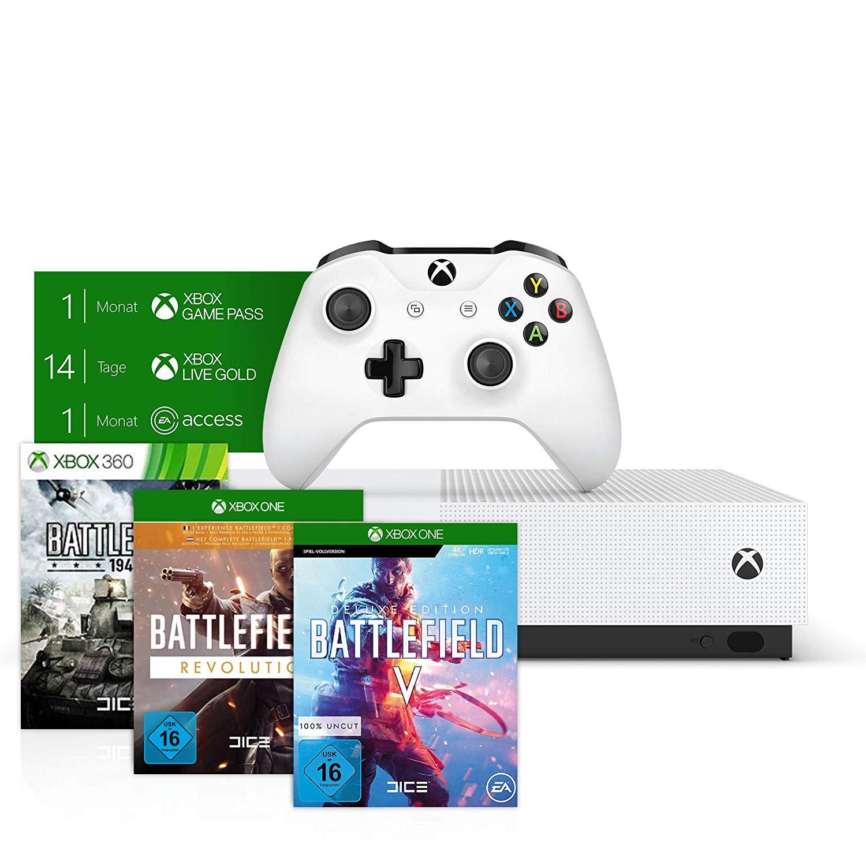 Xbox One S 1TB + BF V: Deluxe Edition + BF 1: Revolution + BF 1943 voor €166 (+meer bundels) @ Amazon.de