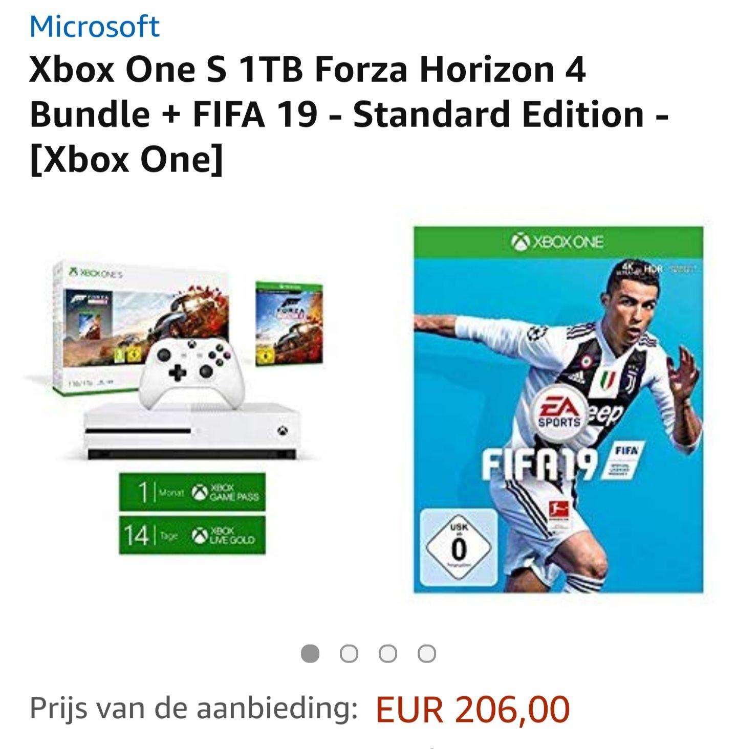 Xbox One S 1TB Forza Horizon 4 Bundle + FIFA 19 + 1 maand xbox game pass + 14 dagen gratis xbox live gold