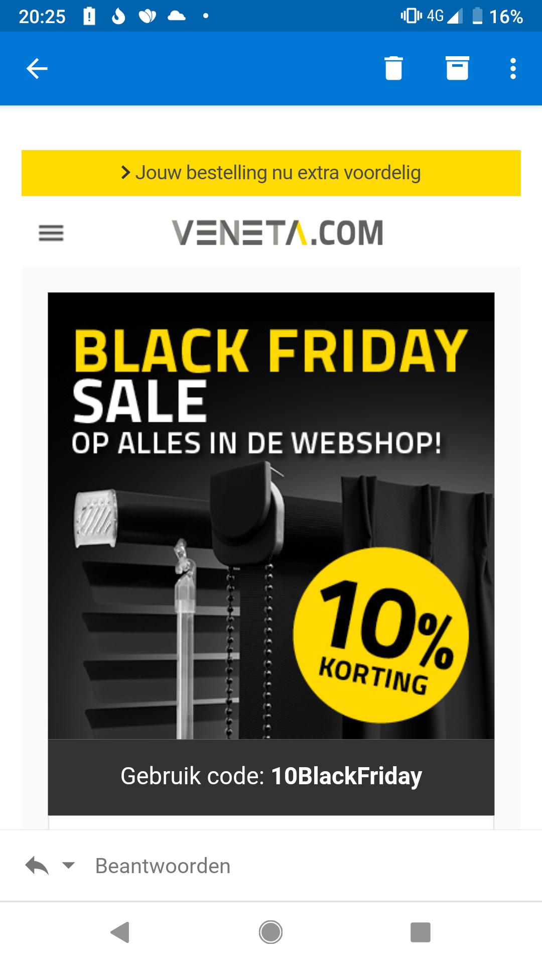 10% korting op alles bij Veneta