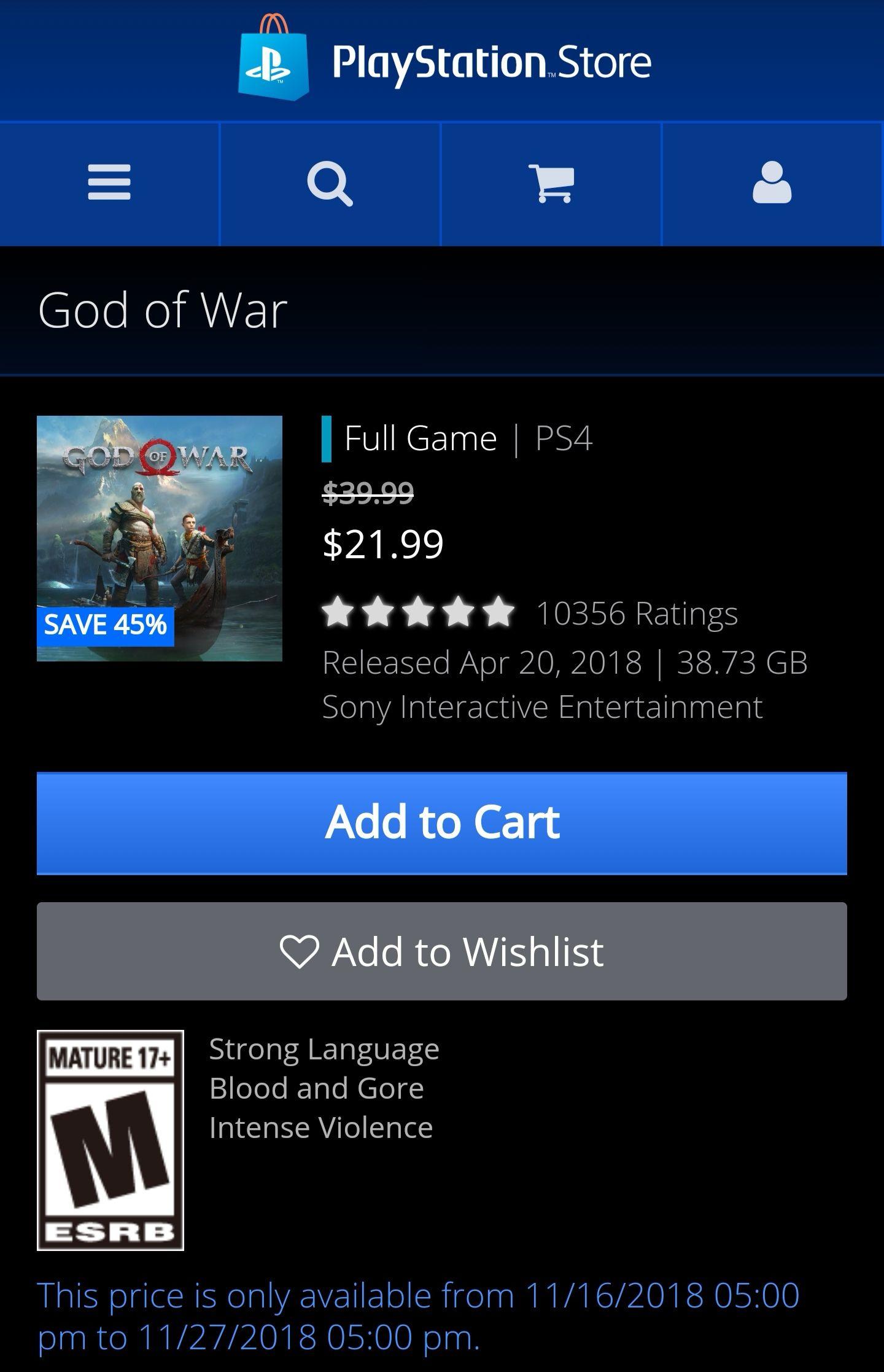 God of war (Amerikaanse psn store)