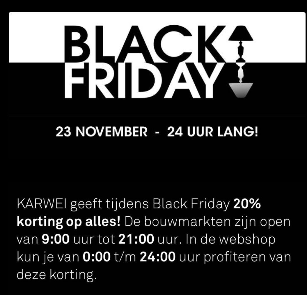 20% Black friday korting bij Karwei