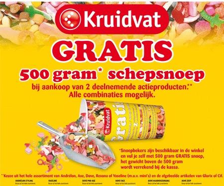 Kruidvat gratis 500gr snoep bij 2 actieproducten