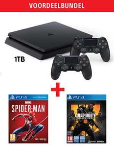 PlayStation 4 Slim 1TB + 2 DualShock 4 Controllers + Marvel's Spider-Man + Call of Duty Black Ops 4