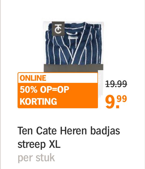 Ten Cate Dames of Heren Badjas 50% korting Op=Op