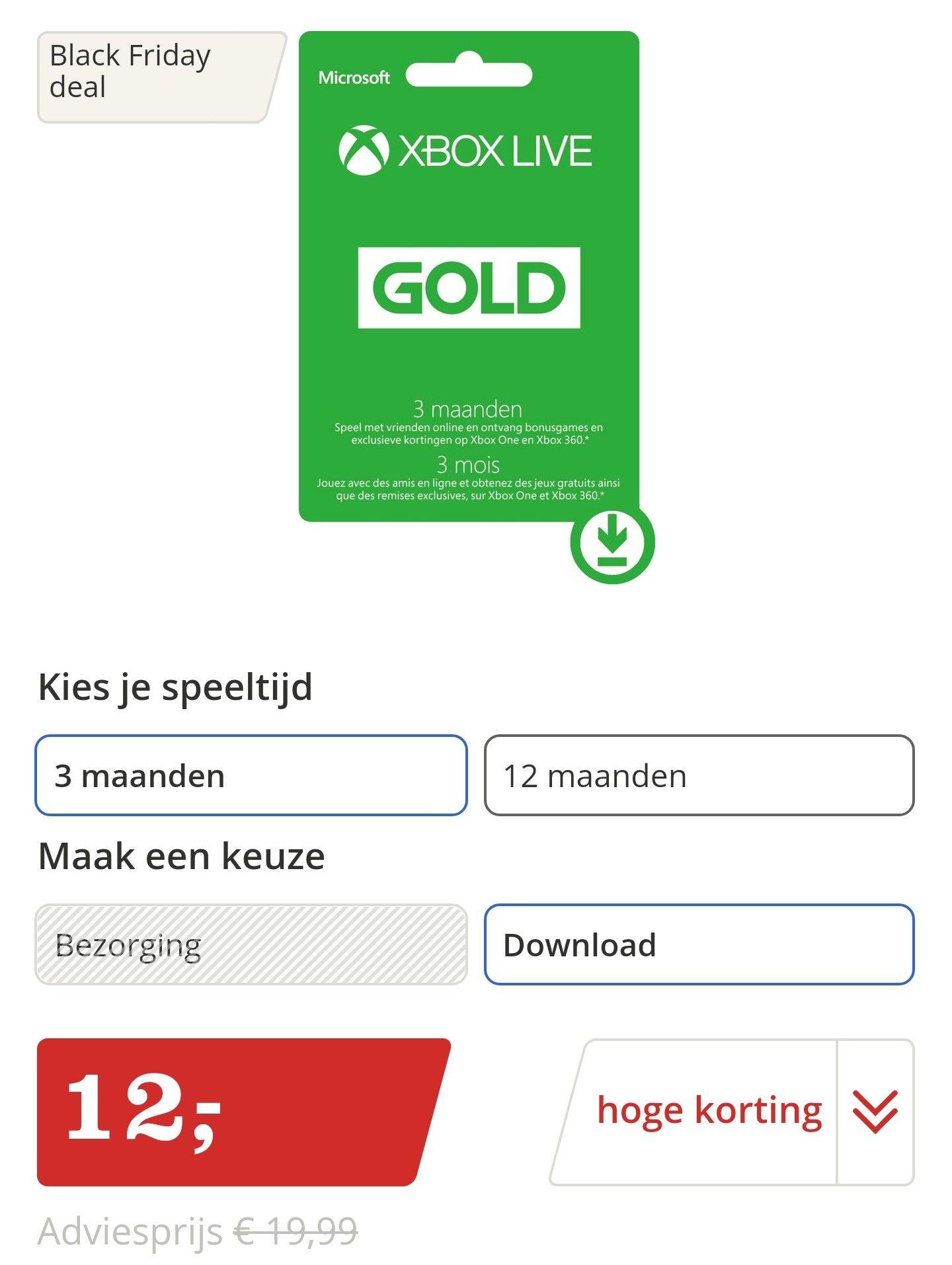 Xbox live gold 3 maanden €12,- @bol.com