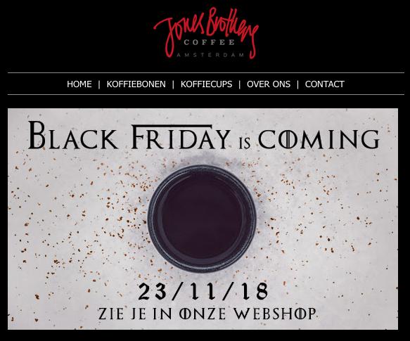 Black Friday bij Jones Brothers Coffee