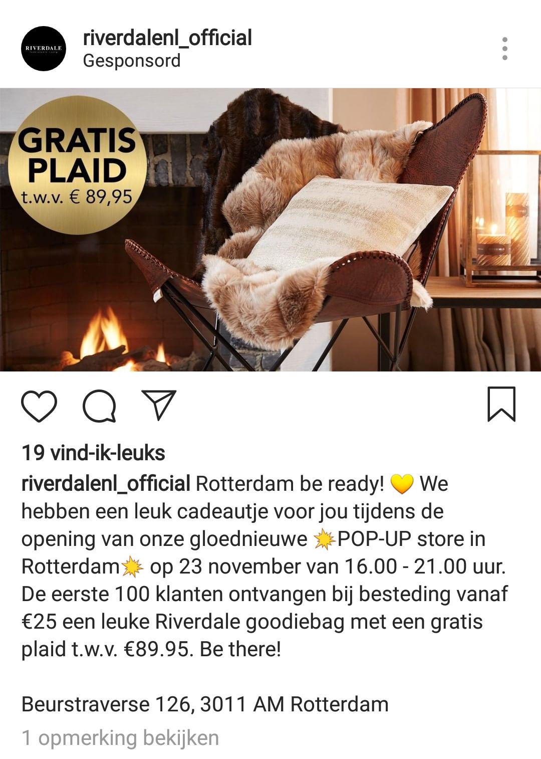 Gratis plaid t.w.v. €89.95 op black friday pop-up store van Riverdale in Rotterdam
